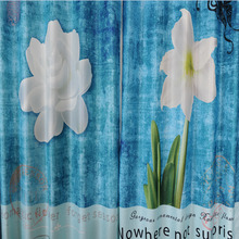 Blue Floral Poly/Cotton Blend Insulated Curtains