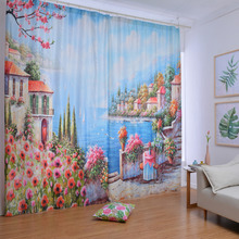 Blue Print Dreamy Beautiful Floral Curtains