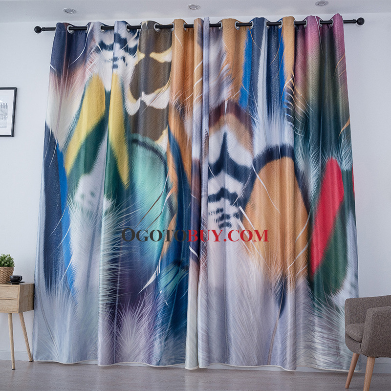 Colorful Patterned Room Darkening Cool Curtains