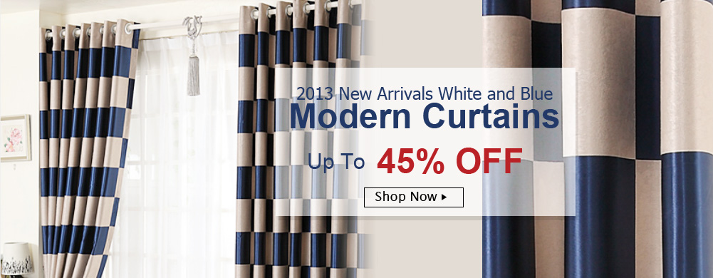 White and Blue Curtains, modern Blackout curtains