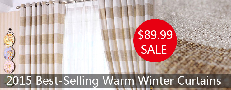 Country Linen and Cotton Blended Striped Curtains